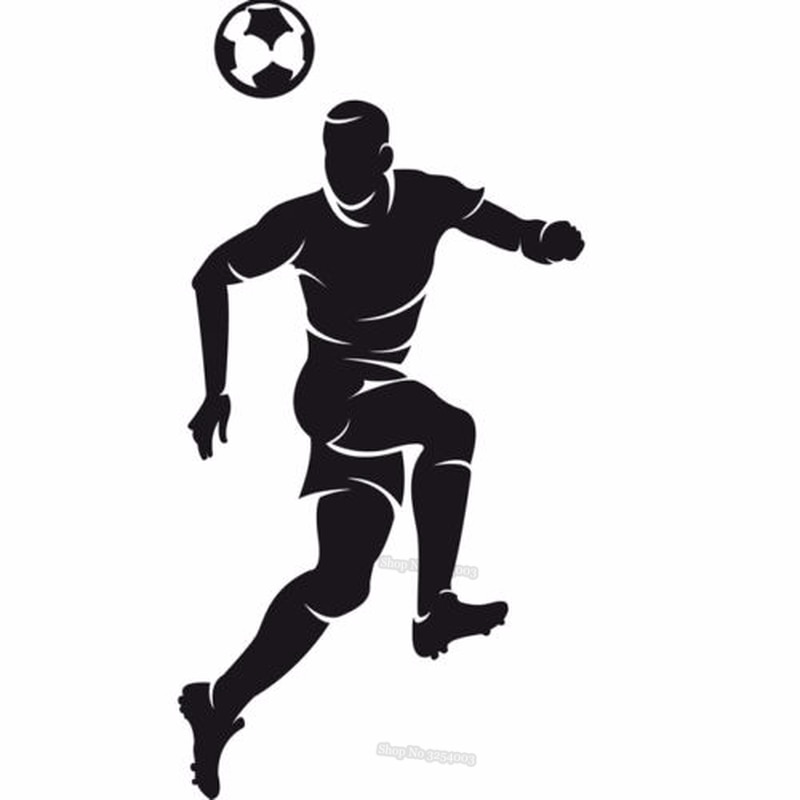 Calcomanía deportiva de vinilo para pared, jugador de fútbol con encabezado, balón, partido, adhesivos de pared fútbol, decoración deportiva, calcomanías de arte para dormitorio de niños L012