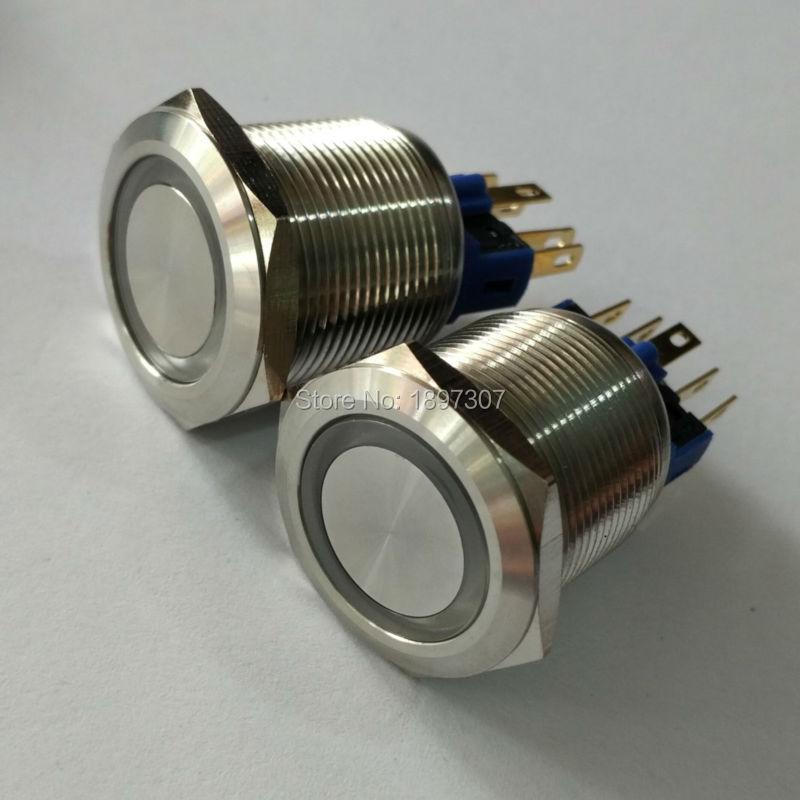 22 мм нержавеющая сталь самоблокирующийся антивандальный электрический выключатель с 6 в, 12 В, 24 В, 110 В, 230 в кольцевой светодиодный + Reach RoHs