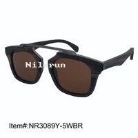 unisex men womens square brown polarized lens matt grey metal bridge ebony wood sunglasses