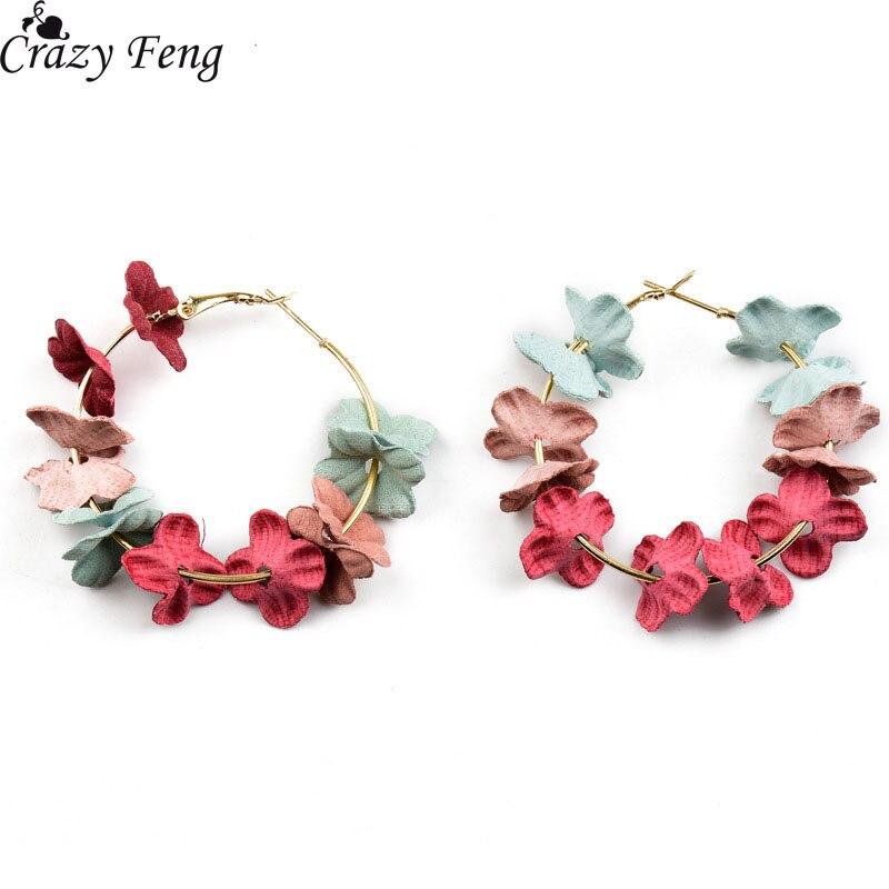 Crazy Feng moda mujer elegante tela flor aro pendientes Bijoux para Sweety colorful pétalo aleación aro pendiente fiesta regalo