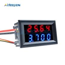0.28 pouces voltmètre numérique DC ampèremètre 4 bits 5 fils DC 100V 10A tension compteur de courant moniteur de courant rouge bleu LED double affichage