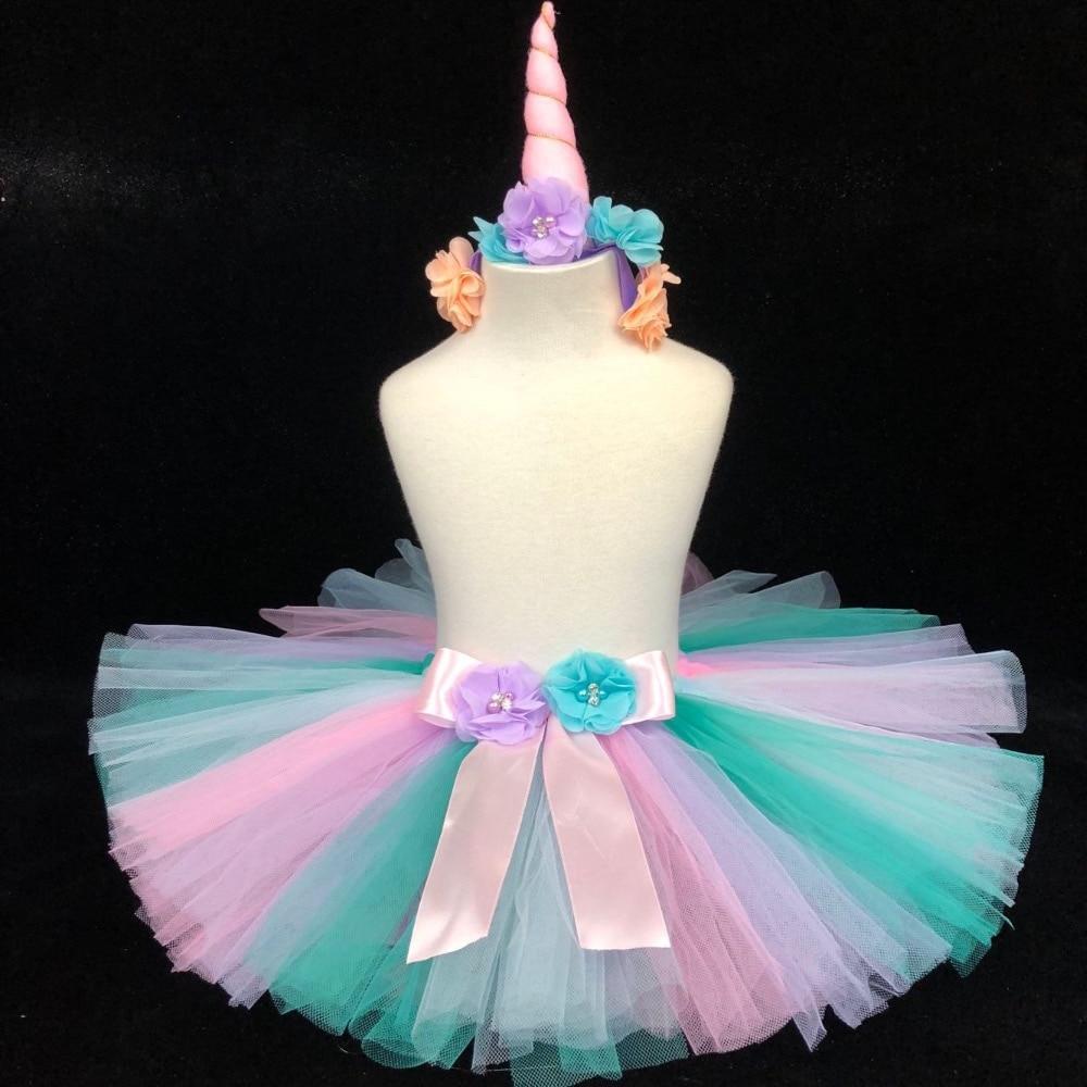 Lindo unicornio bebé Faldas niñas Pastel de tul Tutu faldas de Ballet Pettiskirts con flor, lazo de la fiesta de cumpleaños de los niños falda