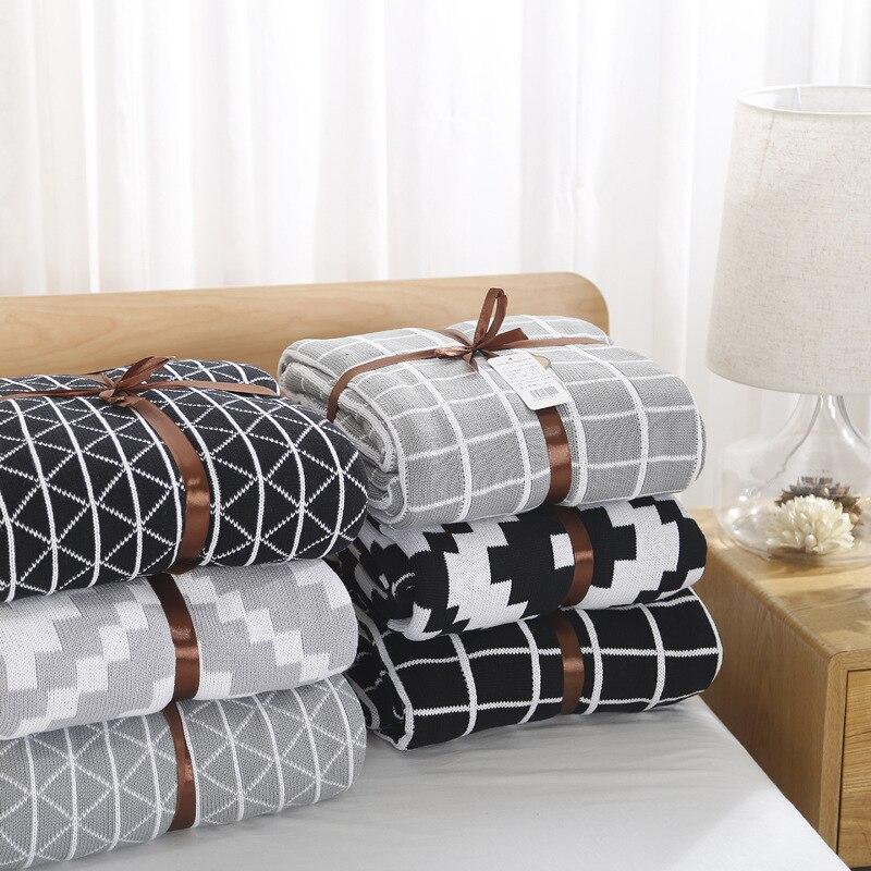 120X180cm Plaid Geometric Knitted Kids Blanket Cotton Towel Blanket Newborn Baby Swaddle Adult Sofa Bedding Car Throw Blankets