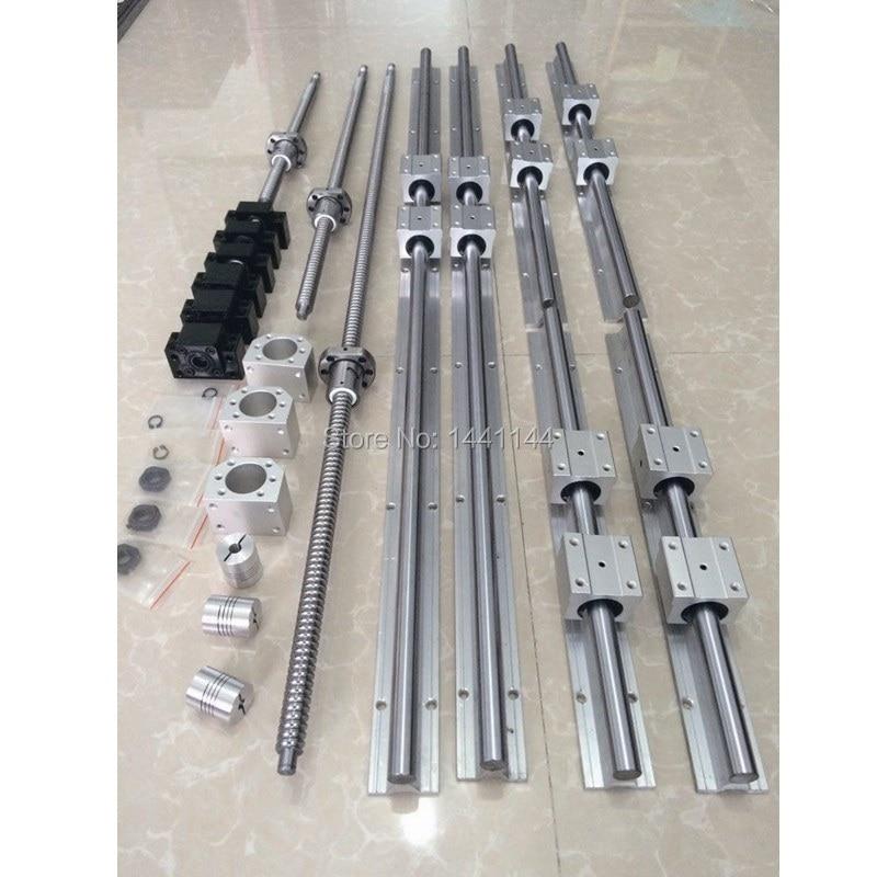 RU الاتحاد الأوروبي تسليم SBR 16 الخطي دليل السكك الحديدية 6 مجموعة SBR16 -300/700/1100 مللي متر + ballscrew مجموعة SFU1605 - 350/750/1150 مللي متر + BK/BF12 CNC أجزاء
