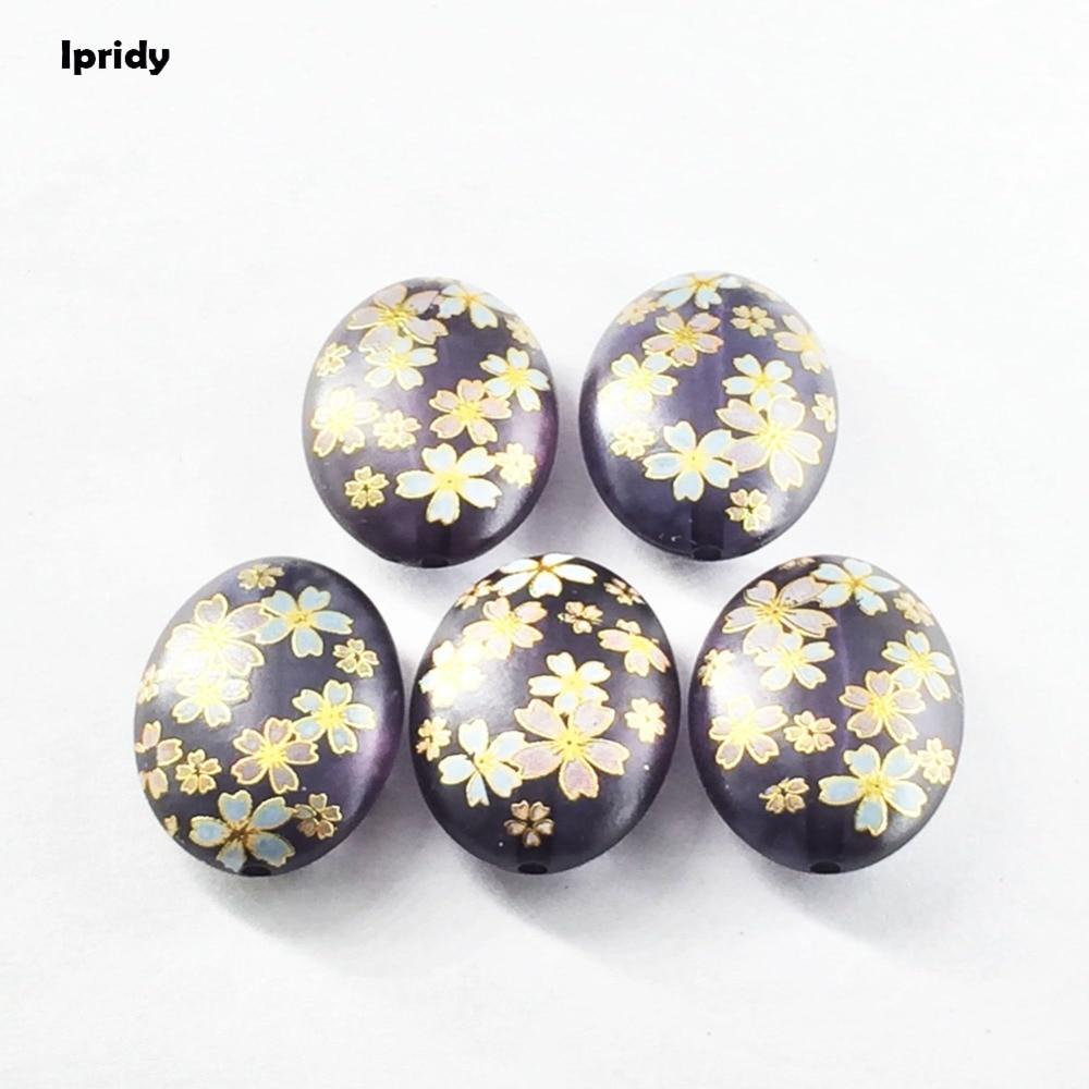 Ipridy cor preta japão pintura do vintage japonês desenho contas oval a parte inferior da cor flor padrão 20x29mm 10 pçs/lote