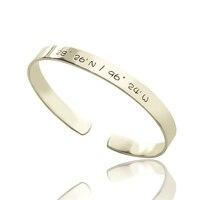 AILIN Personalized Secret Message Bracelet Latitude Longitude Sterling Silver Engraved Inside Bracelet Love Valentines Gift