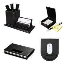 4 teile/satz Business Schreibwaren Schreibtisch Organizer Set Stift Halter Box Memo Karte Fall Gaming Maus pad T49