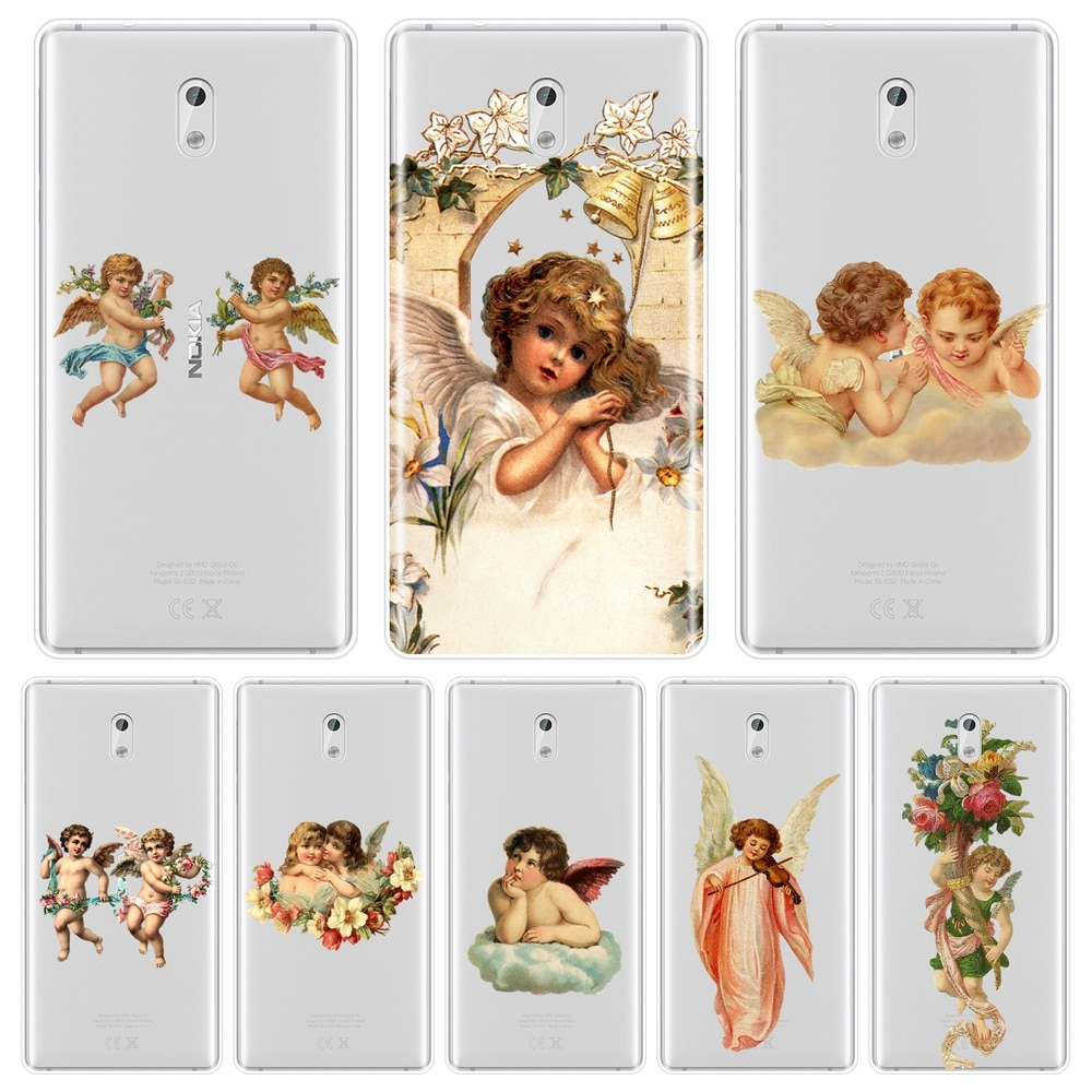 Funda de teléfono para Nokia 7 Plus X6 niño niña Ángel Bebé estético bonita flor Kawaii funda trasera de silicona suave para Nokia 8 6 5 3 2 1