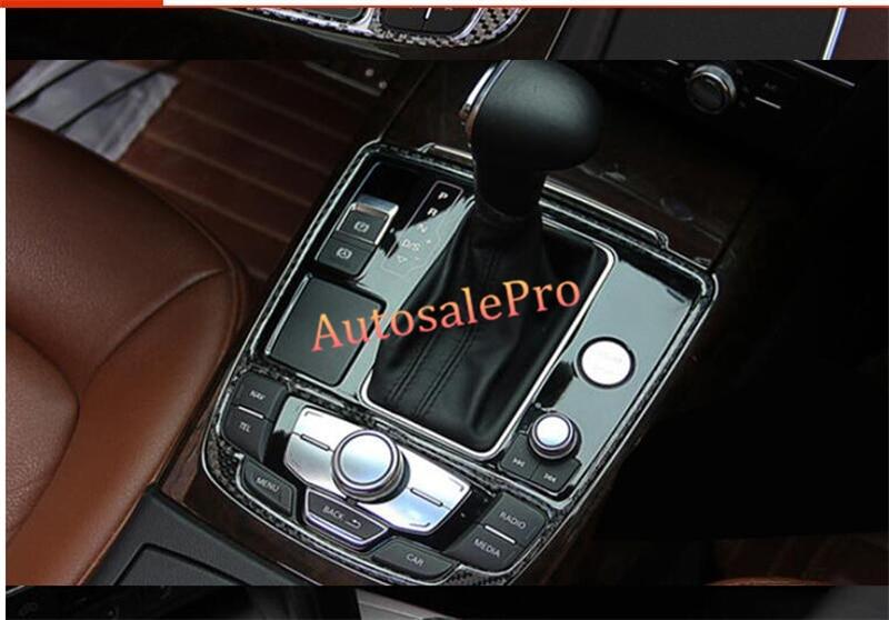 2pcs Carbon Fiber Console Centre Shift Box Gear Box + Water Cup Holder Cover Trim for Audi A6 C7 2012 2013 2014 2015