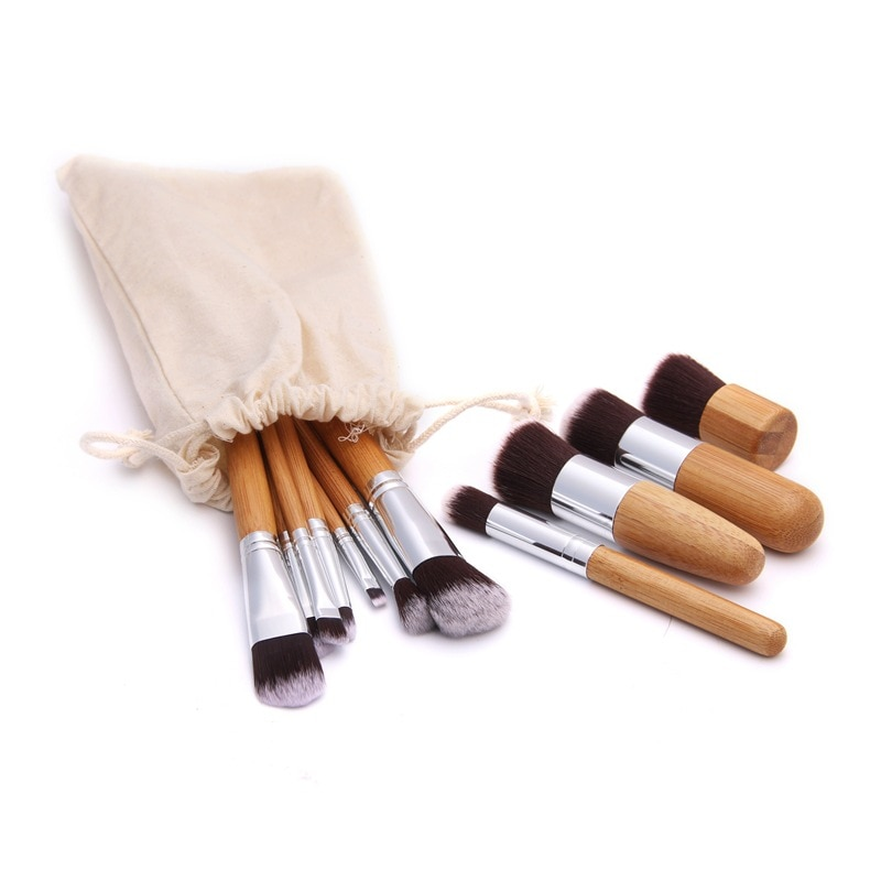 11 Uds pinceles de bambú para maquillajes conjunto de herramientas de maquillaje pincel base colorete sombra de ojos delineador de ojos juego de pinceles