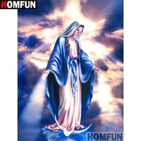 homfun full squareround drill 5d diy diamond painting religious woman embroidery cross stitch 3d home decor gift a11031