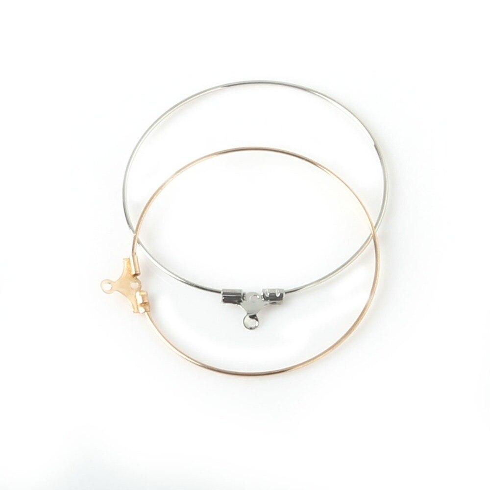 ¡Novedades! 50 Uds. De accesorios de joyería de latón, anillos de cristal de vino chapados en oro y Rodio, aros para pendientes, FRB007-01 de 40mm