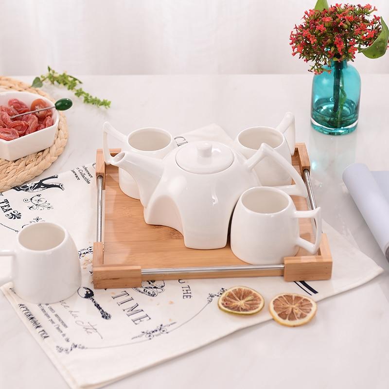 طقم فنجان قهوة سيراميك أوروبي إبداعي ، إبريق شاي بسيط للمنزل بعد الظهر ، 4 أكواب ، صينية تجميع ، أكواب قهوة وشاي