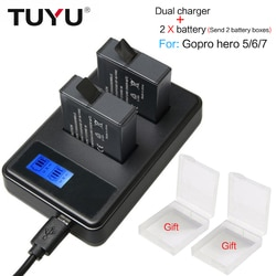 TUYU 2 Pcs Para GoPro Hero 5 6 7 Batterie 1220 mAh Da Bateria + LCD Dual USB Carregador Para GoPro hero5 6 7 Preto Câmera Gopro 2018