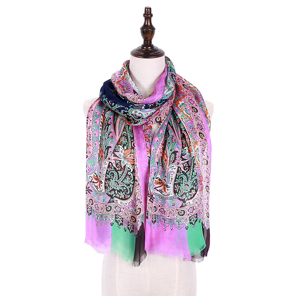 long scarf georgette silk shawl mujer lady paisley thin soft material foulard silk shawl bandana shawls hijab stole tippet