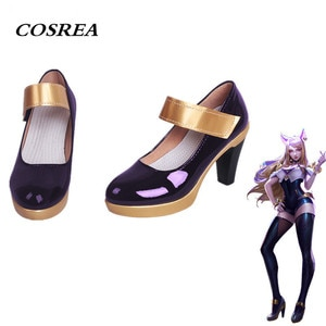 Hot Game LOL KDA AHRI Cosplay Costume PU Leather High Heels Purple Black Shoes High-Heeled Cosplay For Women Girls Ladies Shoes