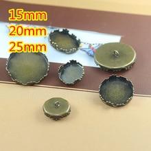 15mm, 20mm, 25mm antiguo Corona de bronce botón trasero Configuración de Cameo cabujón para vidrio/pegatinas Vintage fabricación de joyas