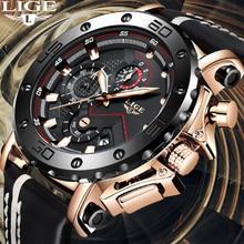 2019 Top marque LIGE nouveau chronographe hommes montres de mode de luxe montre à Quartz hommes militaire étanche horloge mâle Sport montre-bracelet
