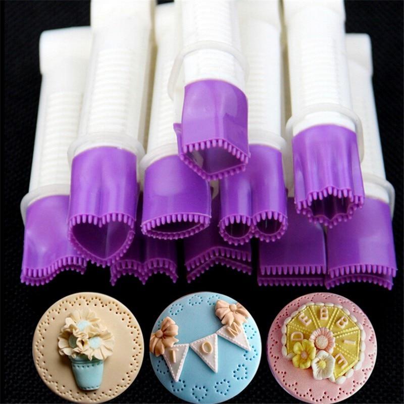 10 unids/set pastel flor pinza encaje plástico pastel decoración molde impresión encaje Clip Fondant galletas cortador herramientas E952