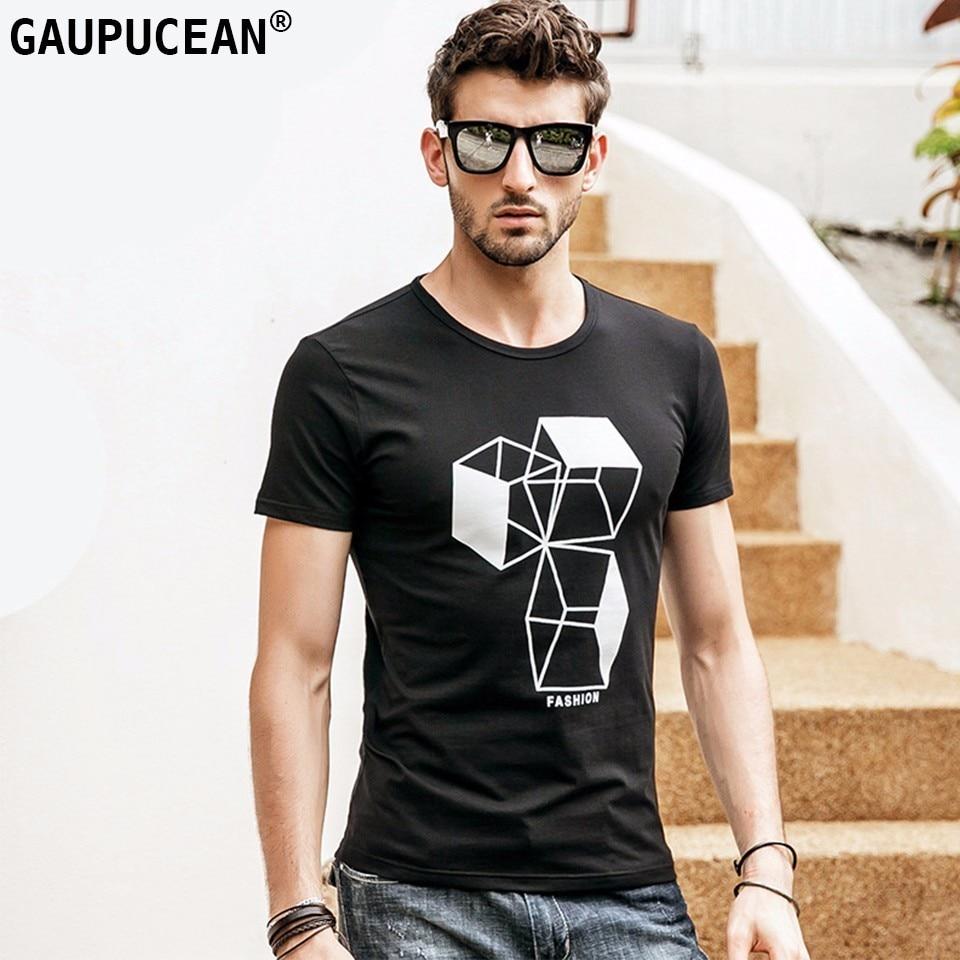 Camiseta para hombre, 93.9% algodón, 6.1% Spandex, novedad de verano, patrón negro gris, manga corta, estampado de rombo, camiseta para hombre con cuello redondo