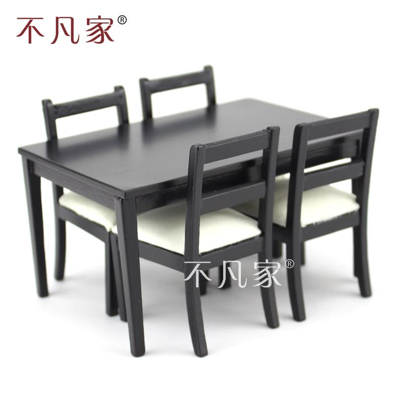 Кукольные домики масштаб 1/12 миниатюрная мебель черный обеденный стол и 4 стулья