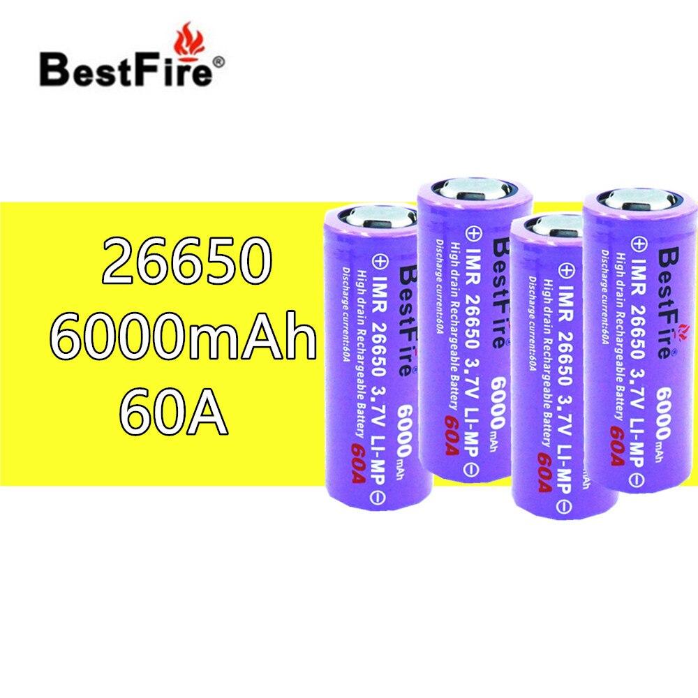 4 piezas BESTFIRE IMR 26650 6000 mah 60A Flat Top recargable batería de litio para ECIG linterna coche de juguete portátil de Li-ion baterías