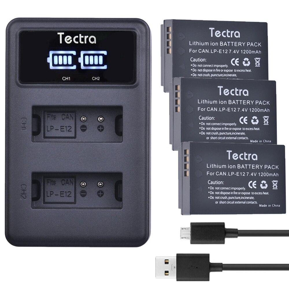 3 Paquetes de LP-E12 LP E12 batería de repuesto + pantalla LED...