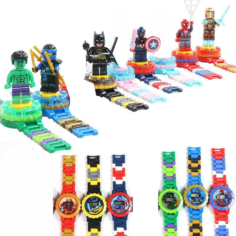 Hotanime marvel Avengers superhéroe Iron Man hulk SpiderMan Capitán América bloque reloj chico juguete para niño niña regalo de cumpleaños