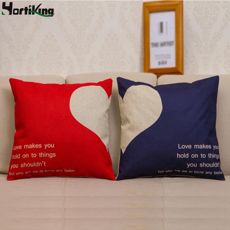 Venta al por mayor cubierta de cojín dibujo de enamorados funda de almohada en vivo sofá de moda/coche/asiento cojín Lino algodón almohadas cómodas H-ZT06