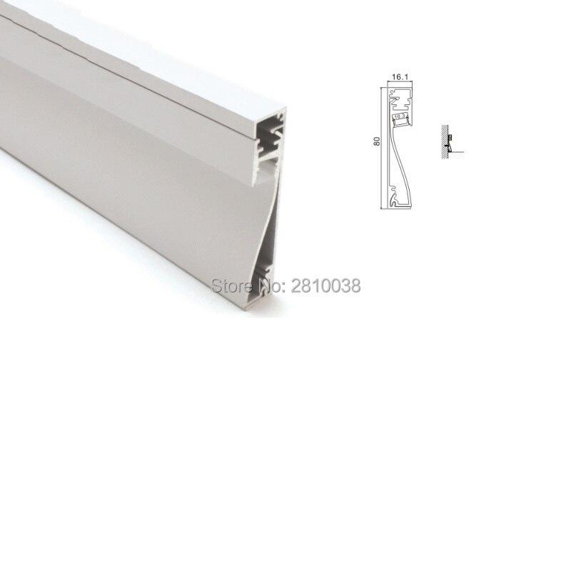 Juego de 50x1 M/lote de arandelas de pared de perfil led y tira de luces led de perfil de aluminio de 80mm para iluminación de pared empotrada