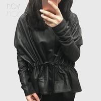 women black genuine leather corrected grain lambskin leather coats jacket tie waist elasticized rib knit panel at sleeve lt2477