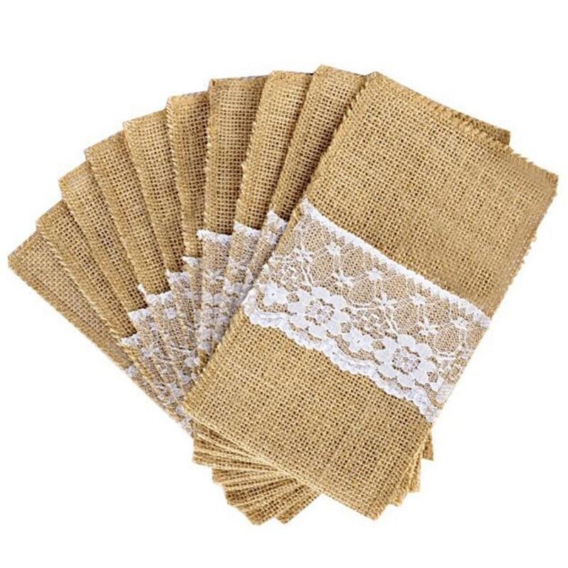 100 Uds./soporte para cubiertos de lino de yute, estilo Vintage Shabby Chic yute con encaje bolsa de cuchillos embalaje tenedor y cuchillo bolsillo Textiles para el hogar