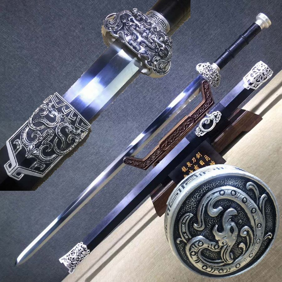 Hecho a mano chino Wushu espada afilada 1062 Octa primavera hoja de acero Kung Fu Han Jian se puede cortar Bambú