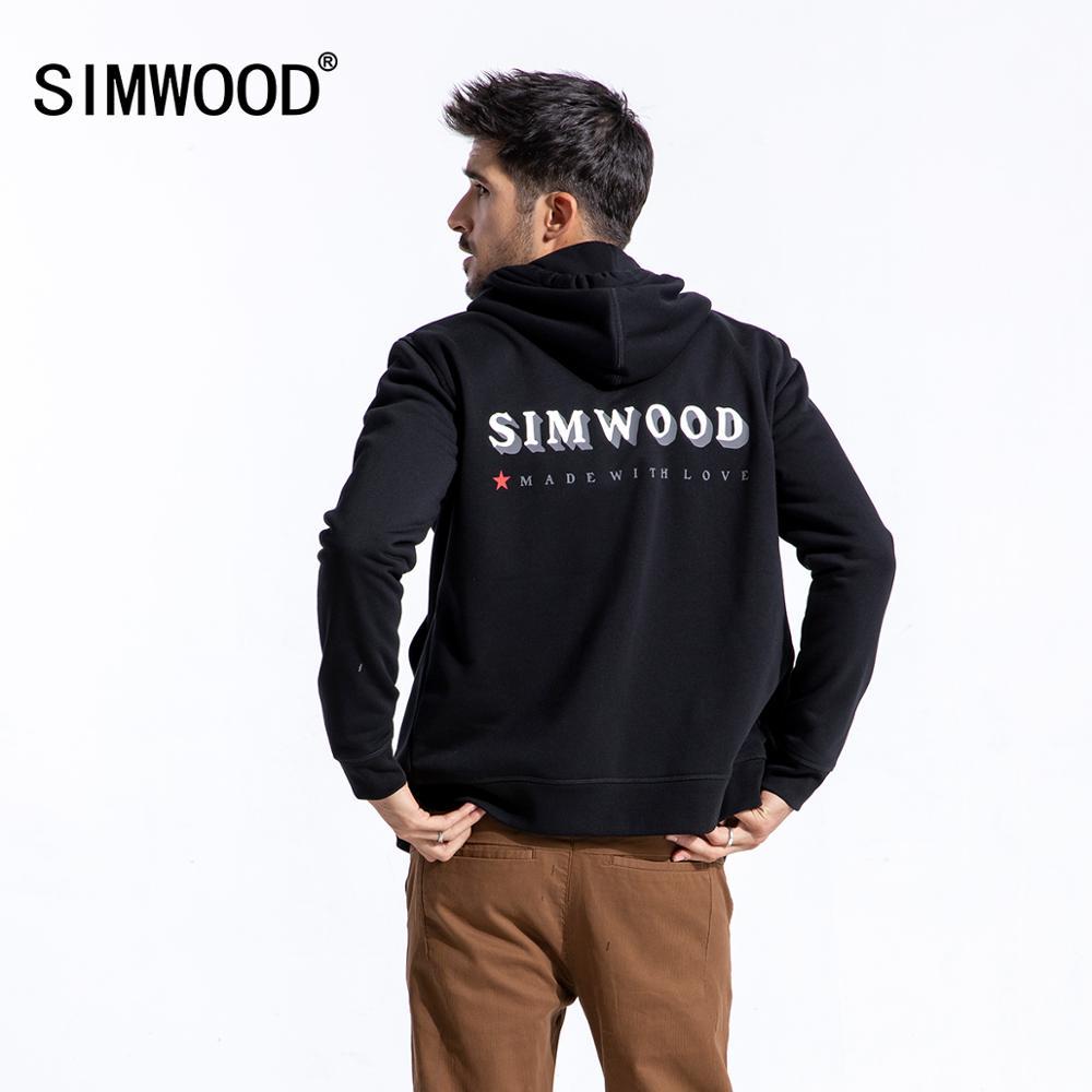 SIMWOOD 2020 primavera Hoodie hombres moda con cremallera Hoodies masculino de alta calidad letra impresa chaqueta Casual 180510
