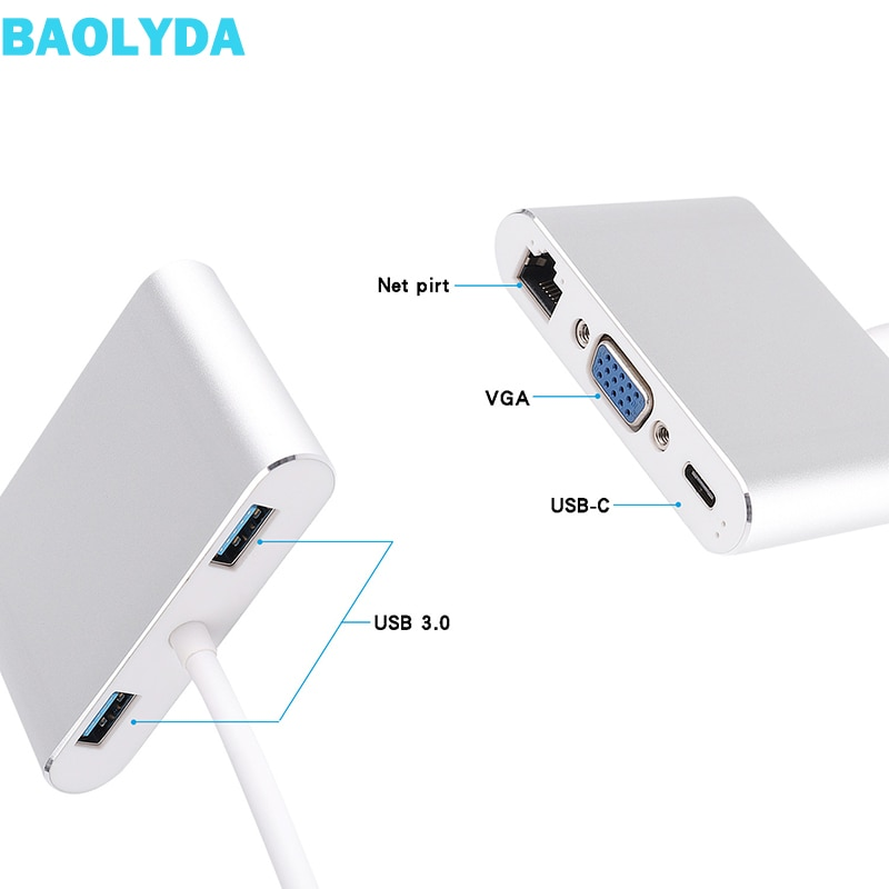 Baolyda USB C Thunderbolt 3 adaptador 5in1 USB-C adaptador multipuerto con 4K HDMI Ethernet VGA USB3.0 para Macbook y USB-C portátil
