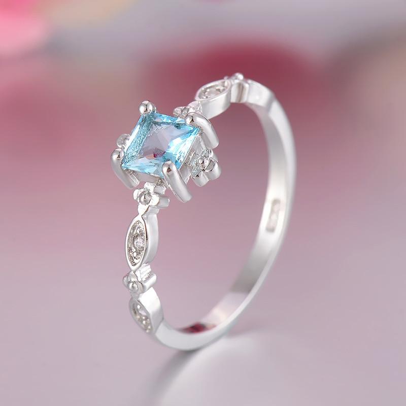 Женское кольцо с синими кристаллами, модное квадратное кольцо для помолвки в подарок, высокое качество