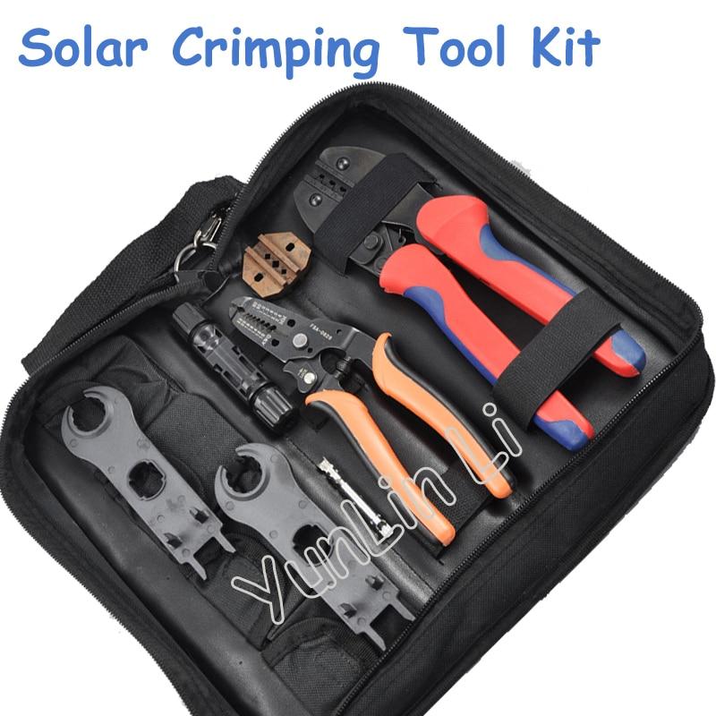 Kit de herramientas de engaste Solar para conectores MC3 MC4 de 2,5-6,0 mm2, cortador de cables PV, herramientas de engarzado, conexión de sistema Solar