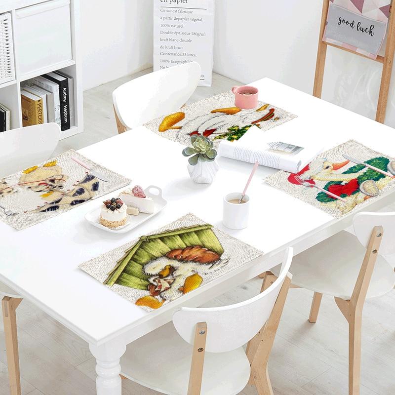 Belleza de dibujos animados pato amarillo servilleta de mesa manteles de lino falda mantel cocina impreso decoración comedor accesorios 42x32cm