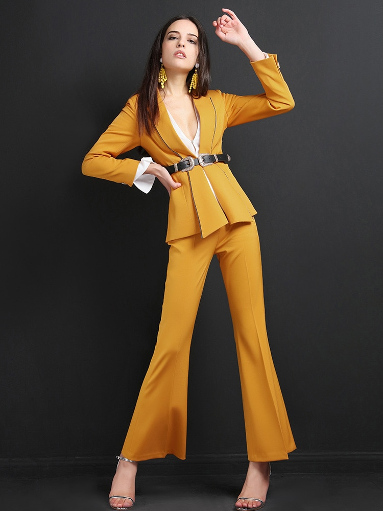 High quality women suits pants suit outdoor office slim fashion Blazer Pant Office Lady acket Female Outfits