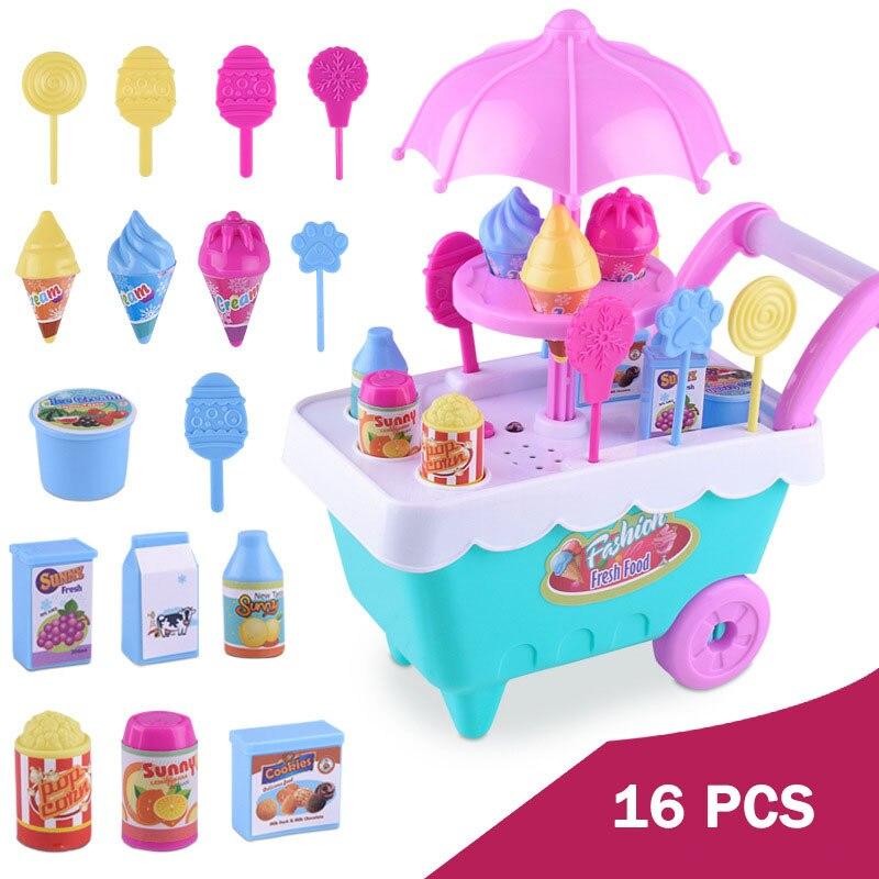 סימולציה מיני עגלת ילדה סוכריות משאית גלידת חנות סופרמרקטים ילדים לשחק צעצועי בית 16 יחידות