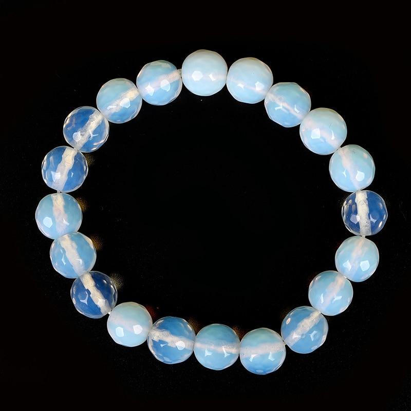 Камни несут жесткий белый и синий разделены между собой натуральный опал резки бусины браслет. Подходит для свадьбы