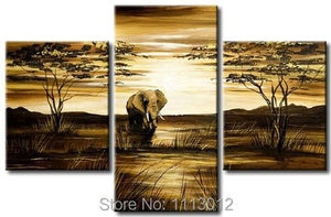 Ручная роспись, современная абстрактная картина маслом, дерево, слон, настенная живопись, холст, набор, 3 панели, украшение дома, художествен...