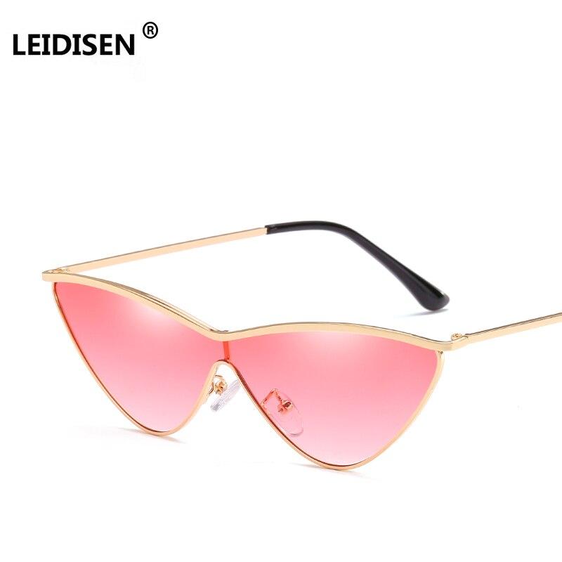 Женские солнцезащитные очки LEIDISEN, зеркальные очки кошачий глаз с прозрачными линзами, цвета розовый, зеленый, UV400