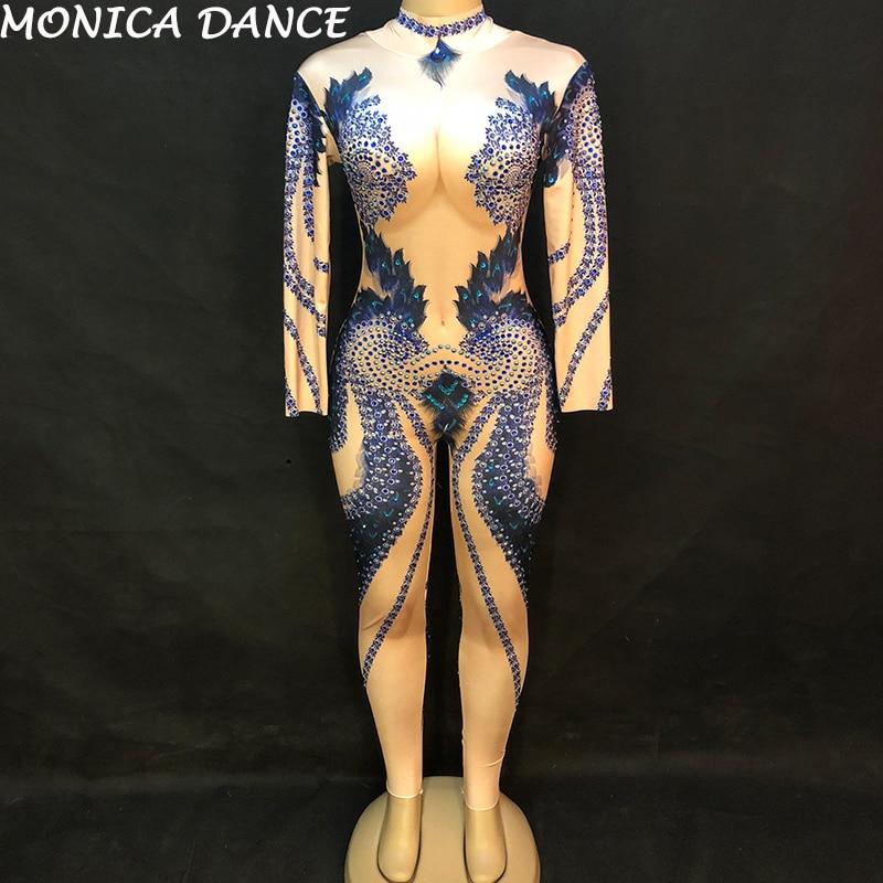 Women Sexy Purple Diamond Jumpsuit Sparkling Crystals Bodysuit Nightclub Wedding Party Singer Stage Wear Performance Costumes