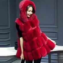 NEW Women Faux Fur Coat For Hooded Warm Coat Woman Winter Snow Palka  Detachable Sleeve Vest Overcoat