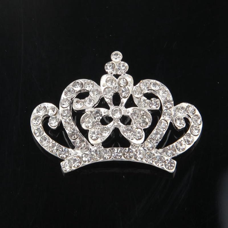 Nishine 2PCS Crown Rhinestone Buttons Diy Bling Alloy Crown for Women Wedding Party Bride Headdress Hair Embellishment Buttons