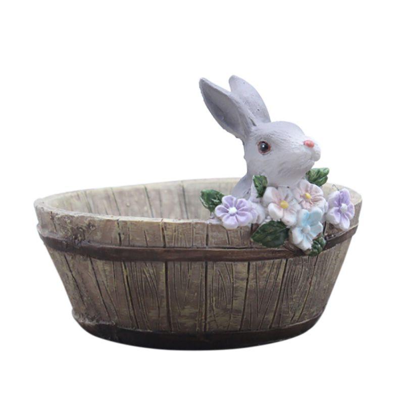 2018 2018 Landscape Cute Bunny Design Natural Resin Planter Flower Pot Home Garden Decors Wooden Bunny Pots