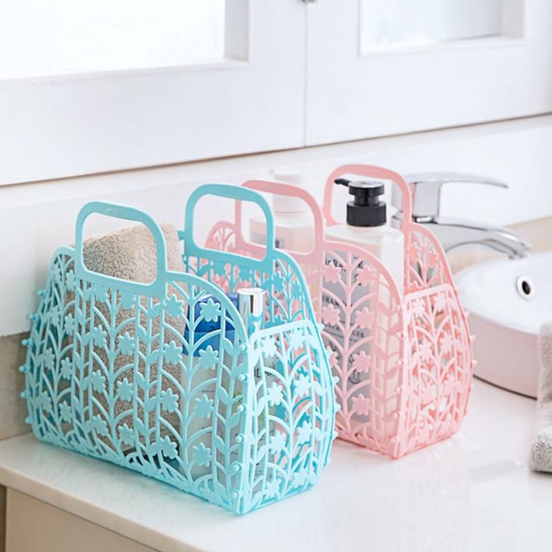 New folding Storage Basket Colored Fashion Hollow Plastic Portable Kitchen Bathroom Bath Basket Toiletries &3050
