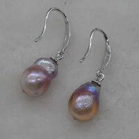 wholesale 10 pairs 8 9mm dangle rare pearl earrings free shipping