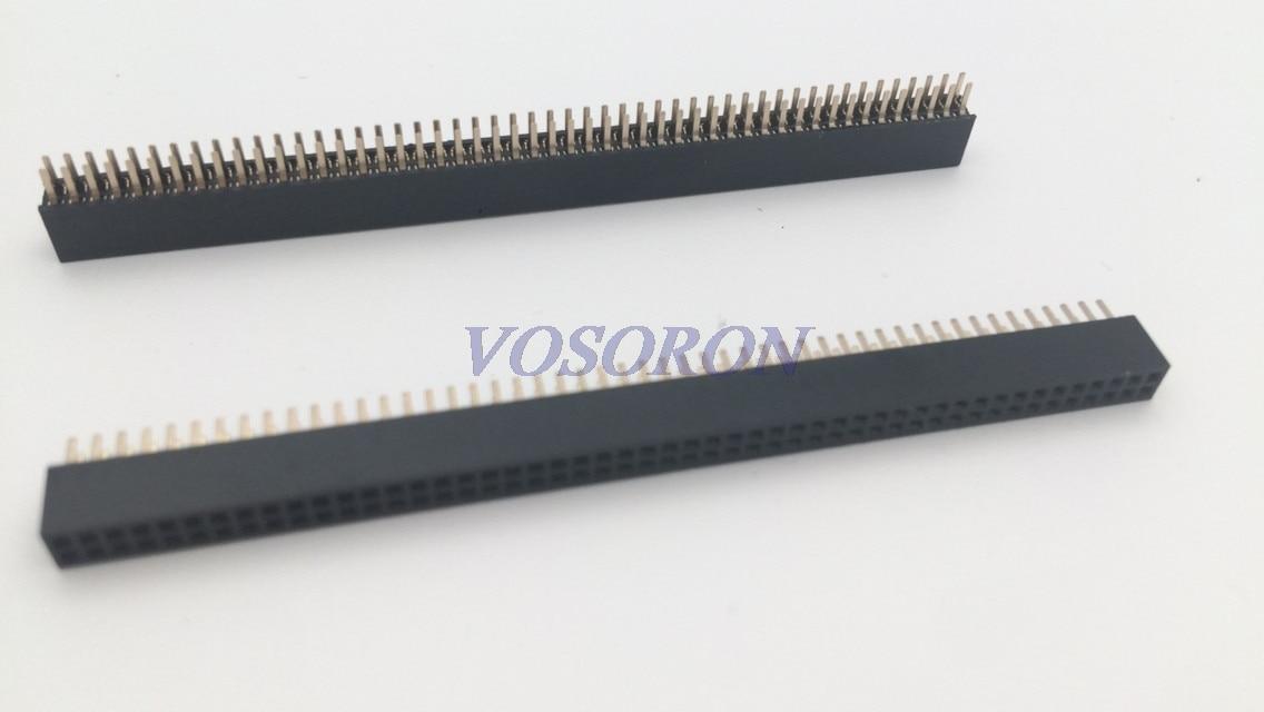10 pces 2 * 50pin 1.27mm dupla fileira fêmea pino encabeçamento 2x50pin 1.27mm pino conector tira